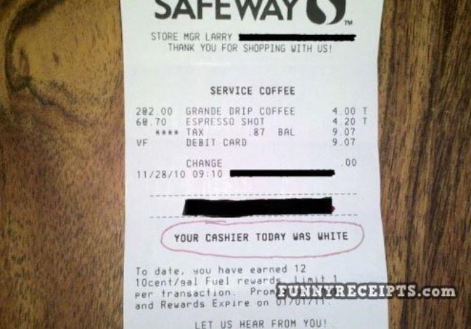 cashier was white