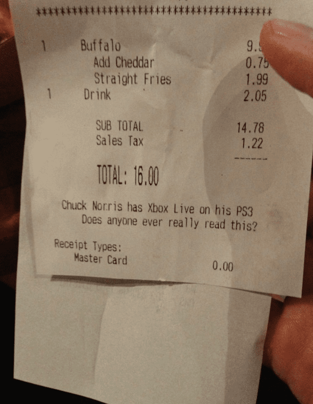 funny notes on dinner receipts does anyone readthis
