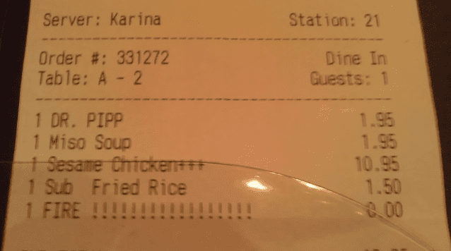 funny notes on dinner receipts fire