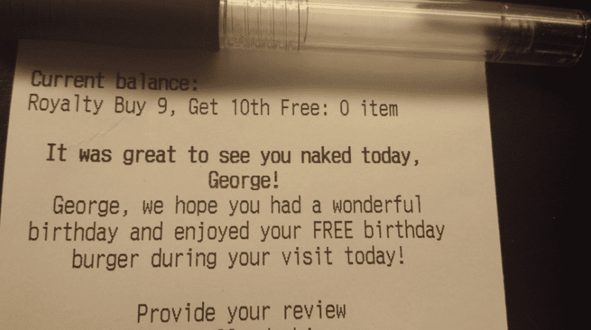funny notes on dinner receipts naked birthday boy