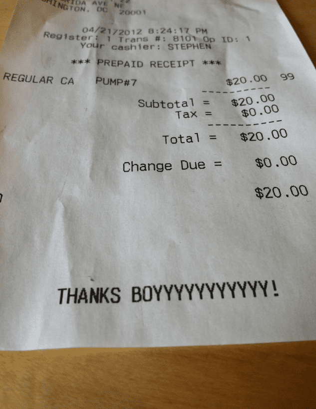 funny notes on dinner receipts thanks boy