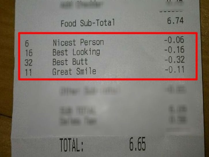 notes on dinner receipts discounts