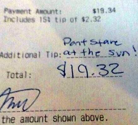 notes on dinner receipts no tip