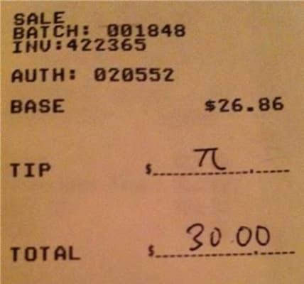 notes on dinner receipts pi
