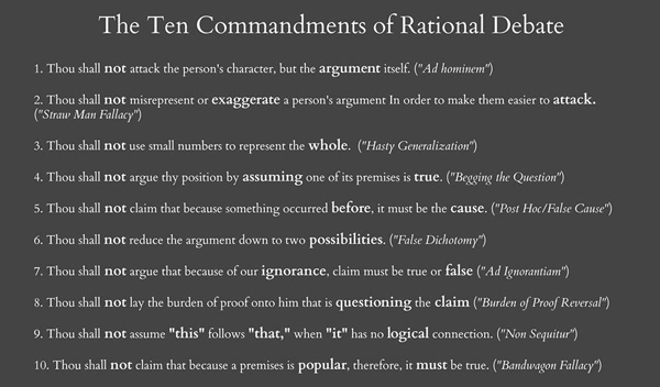 The 10 Commandments of Rational Debate and Logical Fallacies