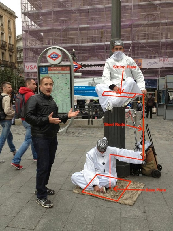 2 person levitating street performer exposed