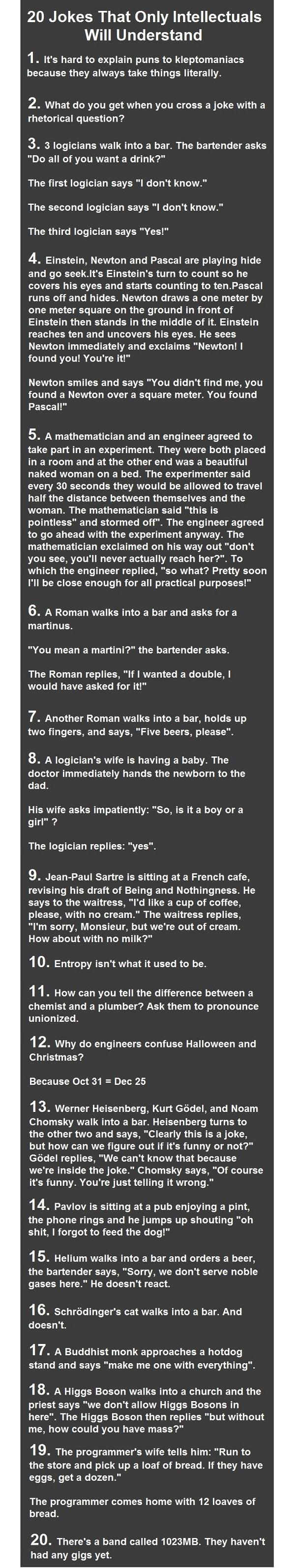 20 jokes that only intellectuals will understand...