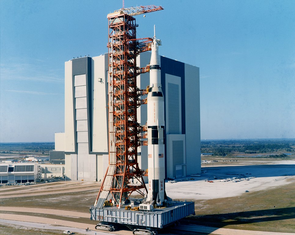 The Saturn V rocket during rollout for Apollo 10