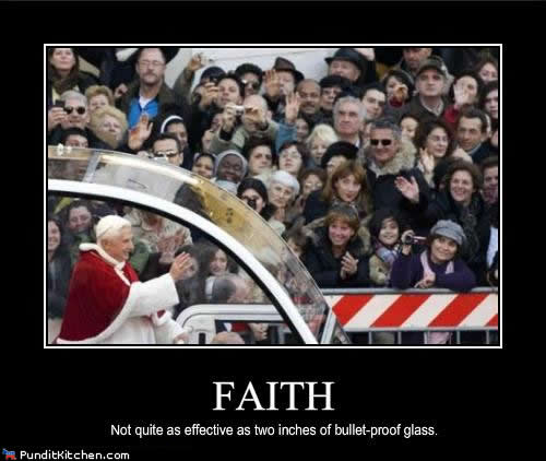 pope behind bullet proof glass