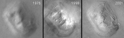 Face on Mars: 1976, 1998, and 2001