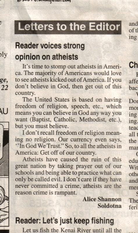 atheist's opinion