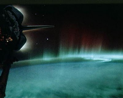 Auroras from discovery shuttle