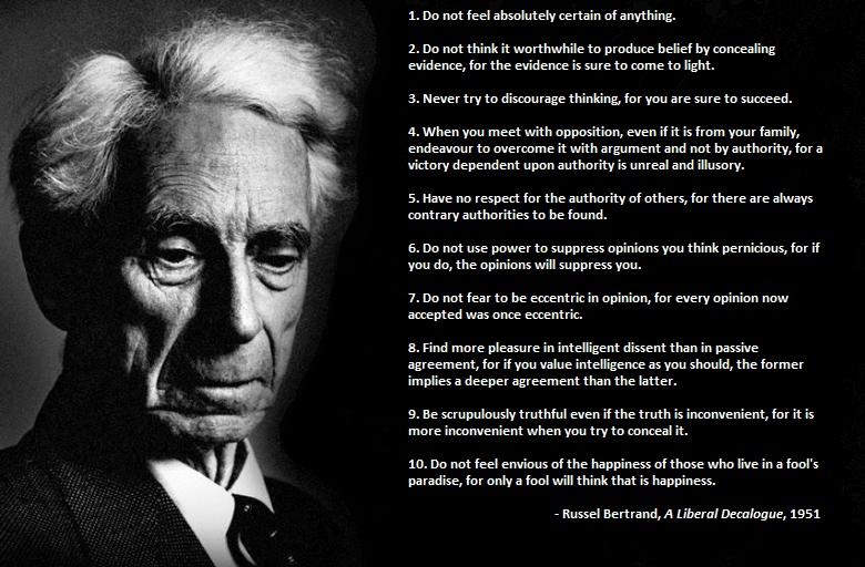 Bertrand Russell's 10 Commandments