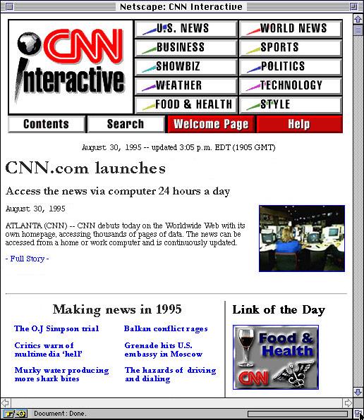 1995 CNN.com Homepage