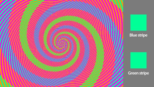 color trick green blue illusion
