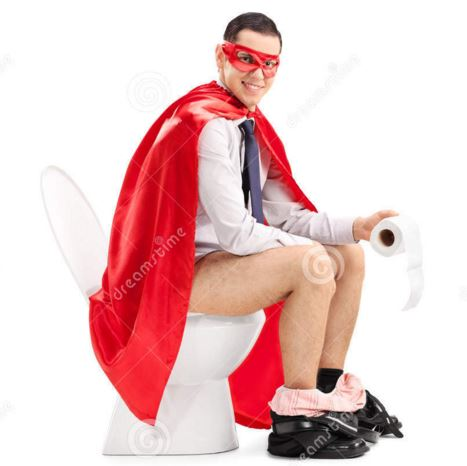 Yes, this exists. A creepy superhero with toilet paper stock photo.