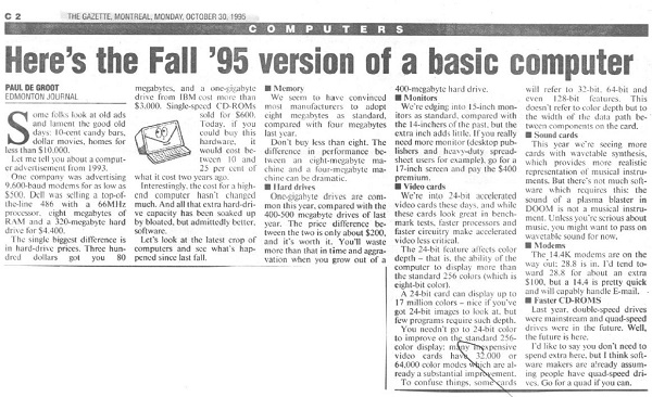 Fall 1995 Version of a Home Computer
