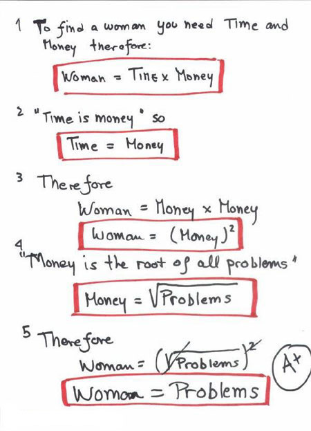 funny exam answer, woman = problem