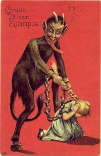 Krampus and little girl with braid