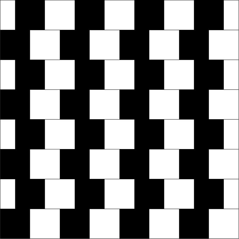 Shifted chess board illusion