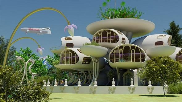 A solarpunk house.