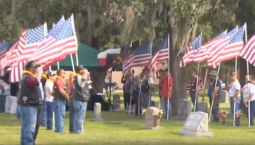 tribute to fallen soldier on old flag