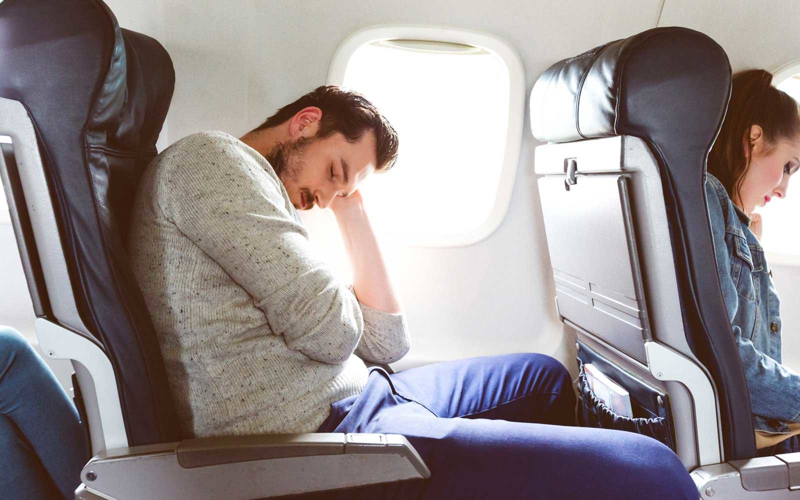 getting comfortable for flight