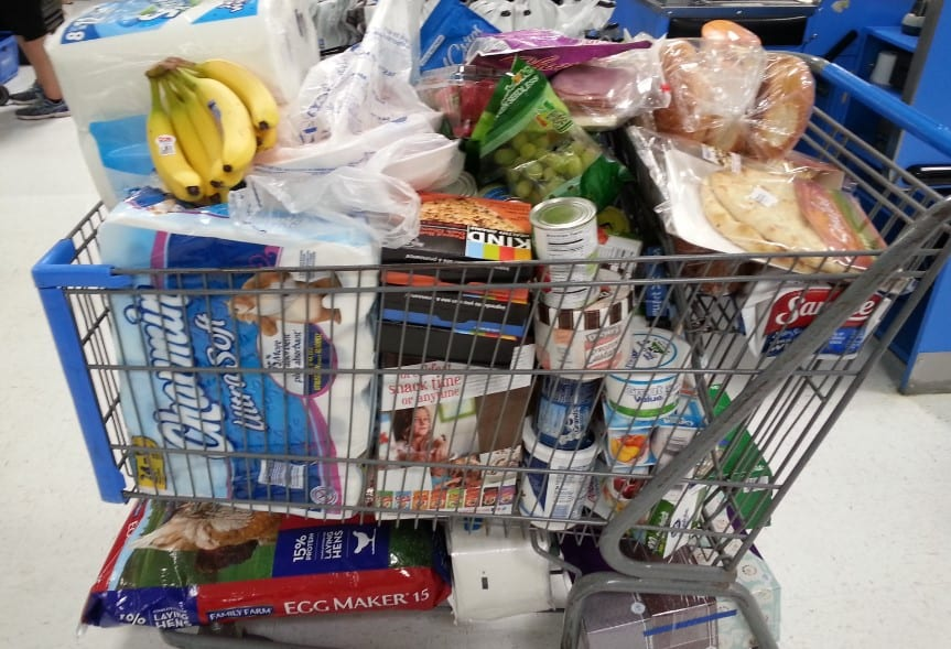 army dad incredulous at shopper's groceries