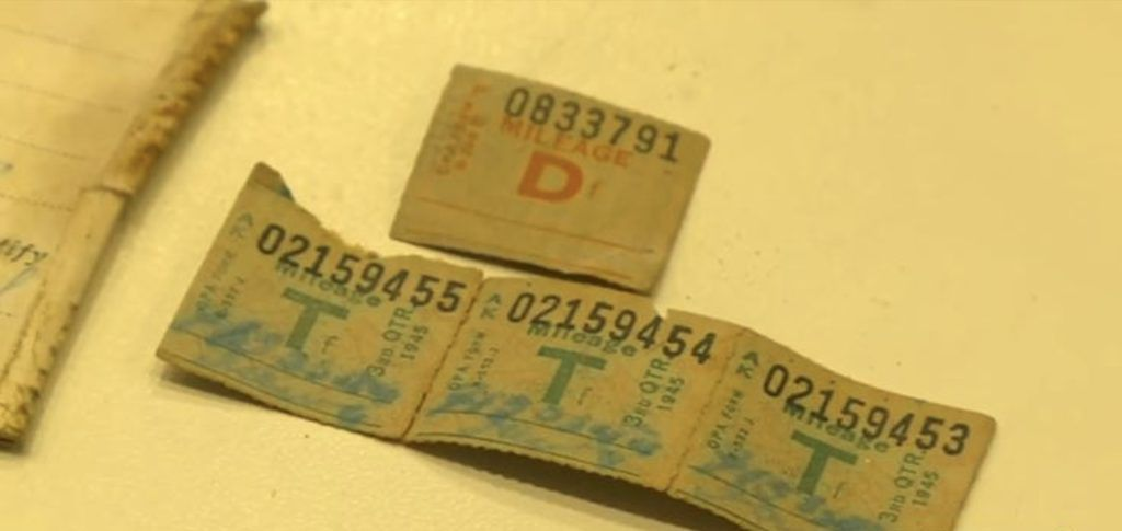 ration stamps in old wallet