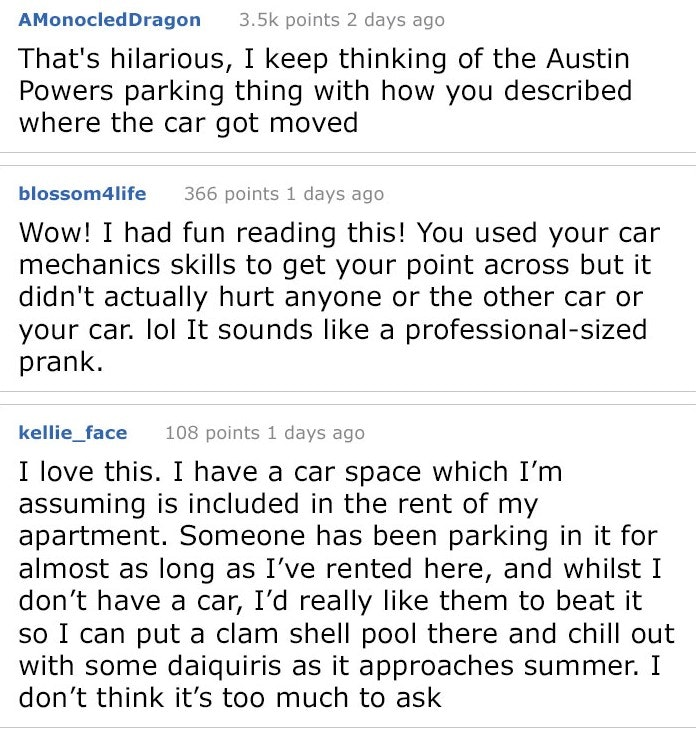 responses to parking lot thief's comeuppance