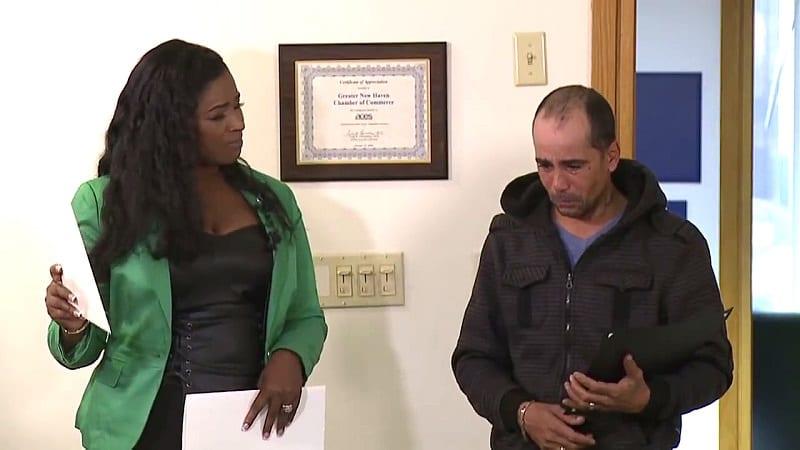 Elmer returning the check to Roberta