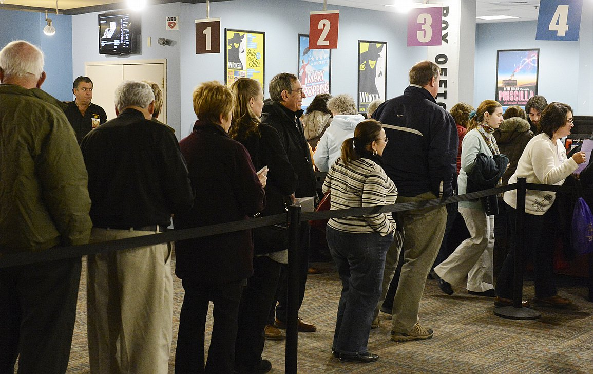 standing in line at the bank