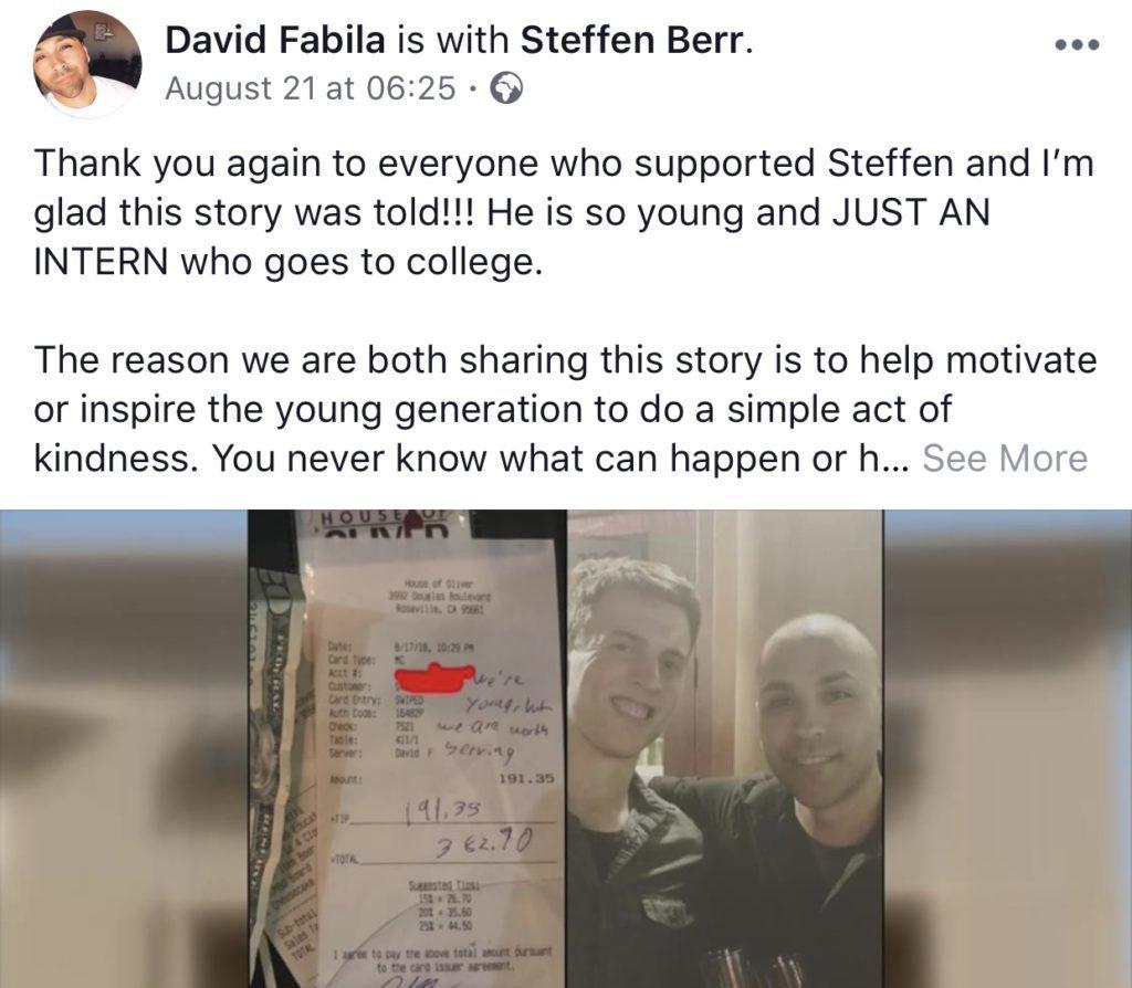David Fabilla's customer note