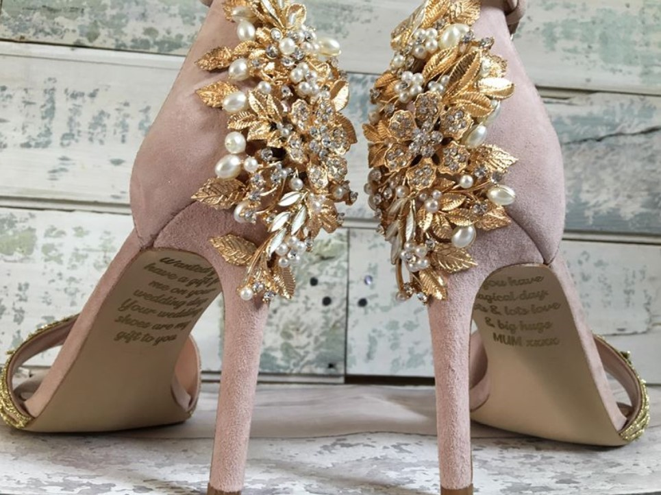 beautiful message on her wedding shoes