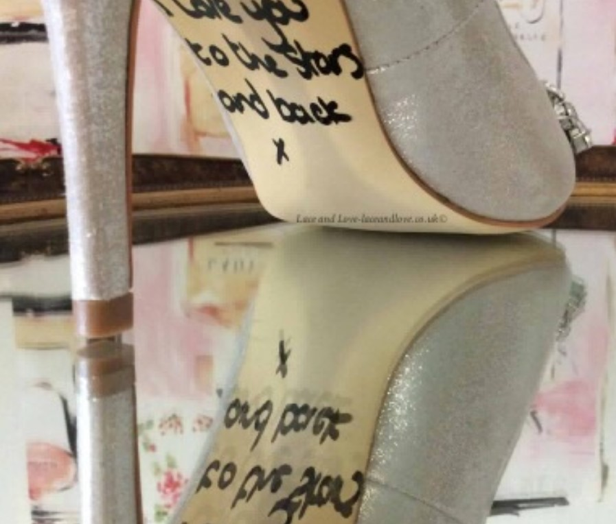 a personal message on the soles of the shoes