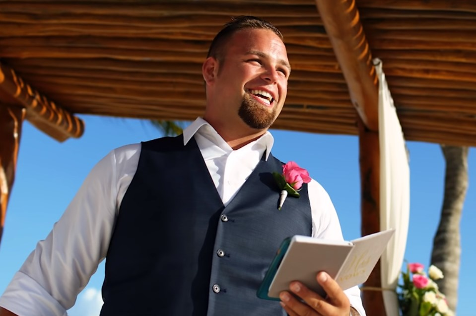 Tyler reads his vows to his best friend