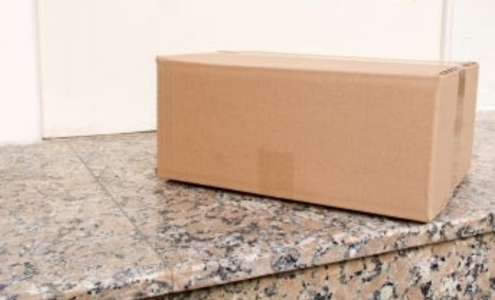 package arrives for bride and groom