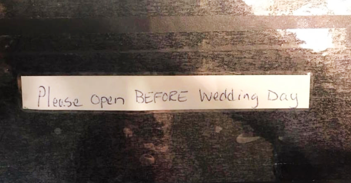package addressed to the bride and groom