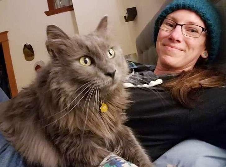 Emily Crane and her cat Rex
